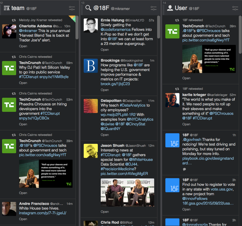 TweetDeck setup with three columns: 18F's team list, replies to @18F, and @18F feed