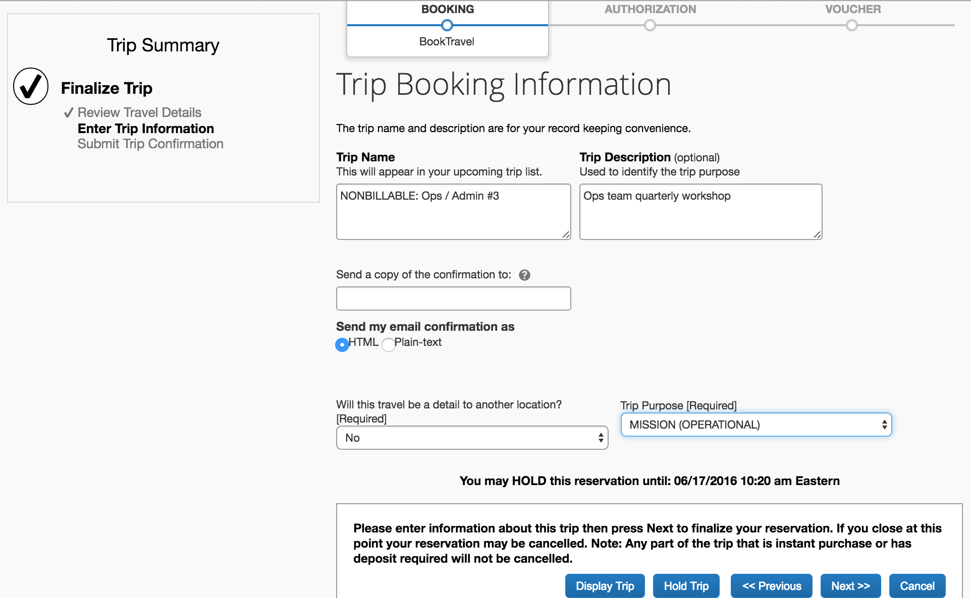 Trip Booking Information screen