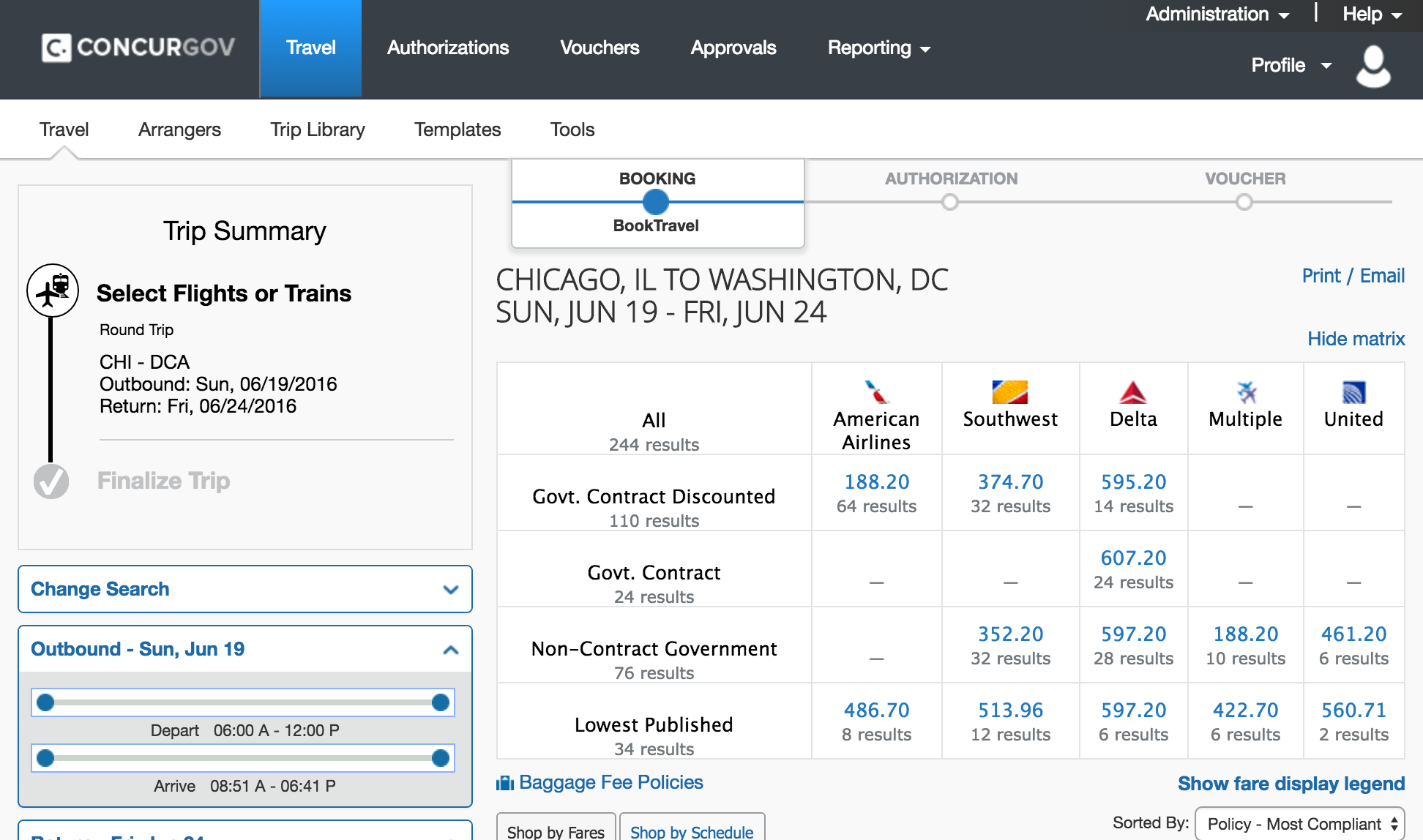 Concur flight selection screen